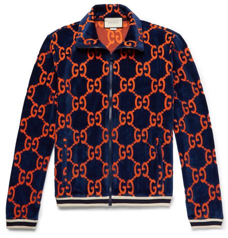 ba29c17ec Gucci Gg Chenille Cotton Blend Track Jacket In Blue | ModeSens