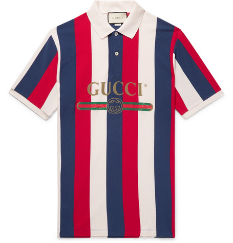 b7700f5d832d Gucci - Logo-Print Striped Cotton-Piqué Polo Shirt