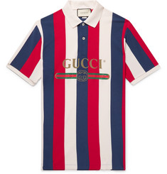 Gucci Logo-Print Striped Cotton-Piqué Polo Shirt