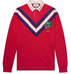 Gucci - Appliquéd Twill-Trimmed Cotton-Jersey Polo Shirt