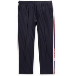 Gucci Slim-Fit Cropped Webbing-Trimmed Cotton-Piqué Drawstring Trousers