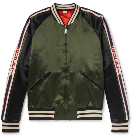 Reversible Webbing Trimmed Satin Twill Bomber Jacket by Gucci