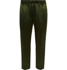 Gucci Tapered Webbing-Trimmed Satin-Twill Drawstring Trousers