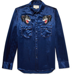 Gucci Appliquéd Satin Western Shirt
