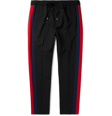 TAPERED STRIPED WOOL AND MOHAIR-BLEND TWILL DRAWSTRING TROUSERS from MR PORTER