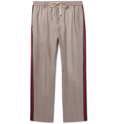 Webbing Trimmed Puppytooth Wool And Mohair Blend Trousers by Gucci