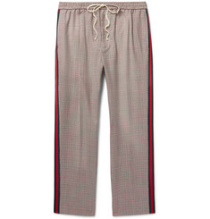 Gucci Webbing-Trimmed Puppytooth Wool and Mohair-Blend Trousers