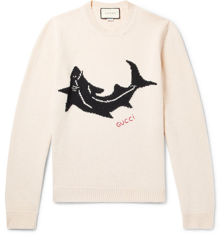 Shark Intarsia Wool Sweater by Gucci