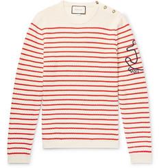 구찌 Gucci Embroidered Striped Cotton and Cashmere-Blend Sweater,Cream