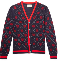 Gucci - Slim-Fit Webbing-Trimmed Wool-Jacquard Cardigan