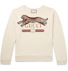Gucci - Appliquéd Logo-Print Loopback Cotton-Jersey Sweatshirt