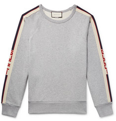 Gucci Webbing-Trimmed Loopback Cotton-Jersey Sweatshirt