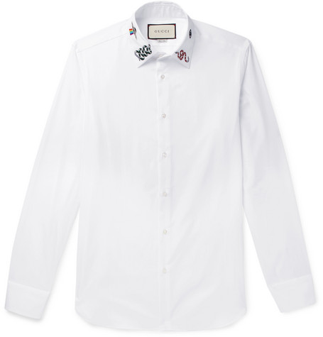 6d806c1d9 Gucci - Duke Slim-Fit Embroidered Cotton-Poplin Shirt