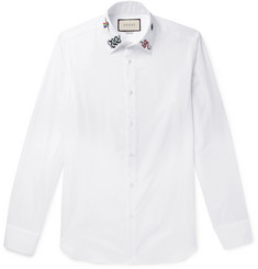 Gucci - Duke Slim-Fit Embroidered Cotton-Poplin Shirt