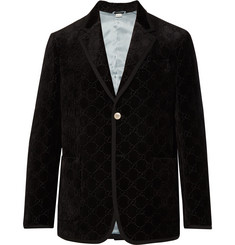 Gucci Black Grosgrain-Trimmed Embroidered Velvet Blazer