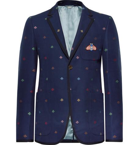 8a5ea0e2 Gucci - Navy Appliquéd Embroidered Cotton-Piqué Blazer
