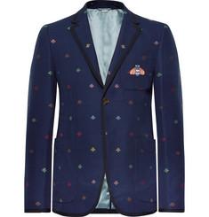 구찌 Gucci Navy Appliqued Embroidered Cotton-Pique Blazer,Navy
