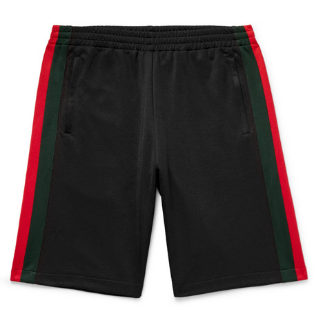 Wide Leg Webbing Trimmed Jersey Shorts by Gucci