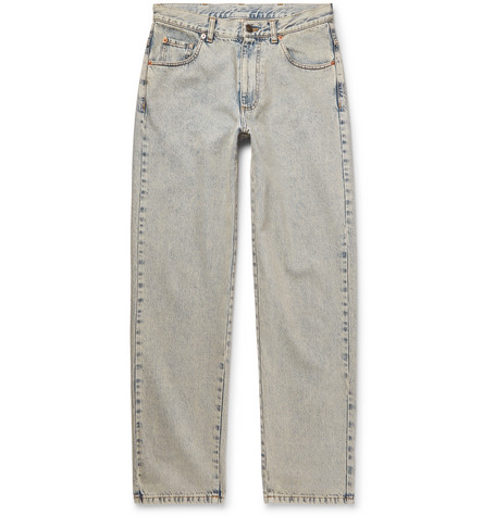 Cropped Printed Washed Denim Jeans by Gucci