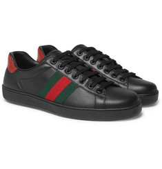 Gucci Ace Snake-Trimmed Leather Sneakers