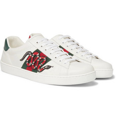 Gucci - Ace Watersnake-Trimmed Appliquéd Leather Sneakers
