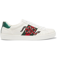 Gucci Ace Ayers-Trimmed Appliquéd Leather Sneakers