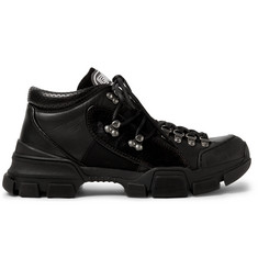 Gucci Rubber-Trimmed Leather and Mesh Sneakers