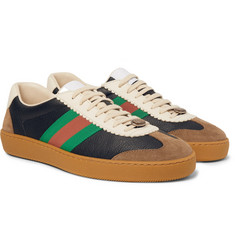 Gucci - JBG Webbing-Trimmed Leather and Suede Sneakers