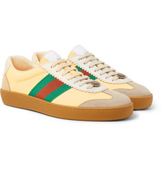 Gucci - Webbing-Trimmed Leather and Suede Sneakers