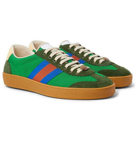 Gucci Jbg Webbing, Suede And Leather-Trimmed Nylon Sneakers In Green