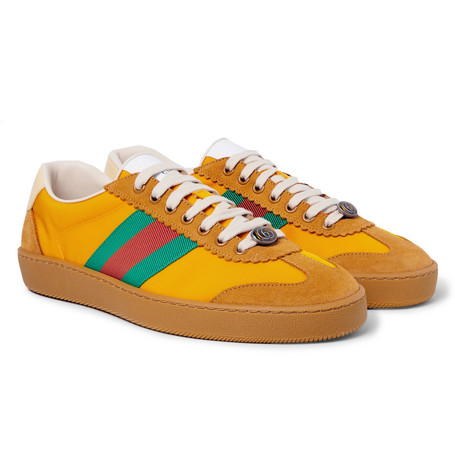 Jbg Webbing, Suede And Leather Trimmed Nylon Sneakers by Gucci