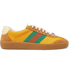 Gucci JBG Webbing, Suede and Leather-Trimmed Nylon Sneakers