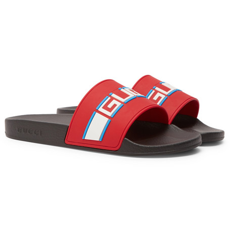 63d754ec Men's Logo Stripe Slide Sandals in Red
