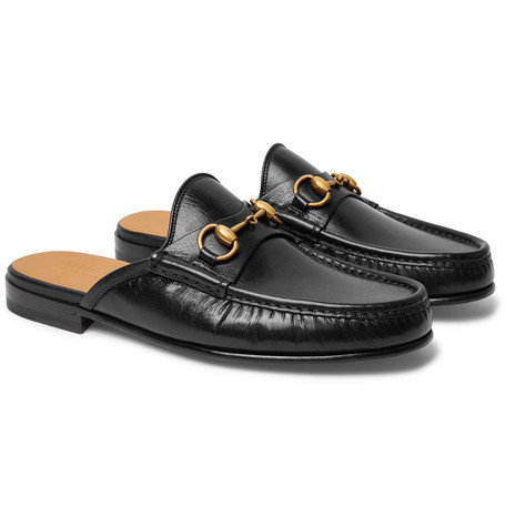 0ffcf71f0 Gucci - Open Roos Horsebit Leather Backless Loafers