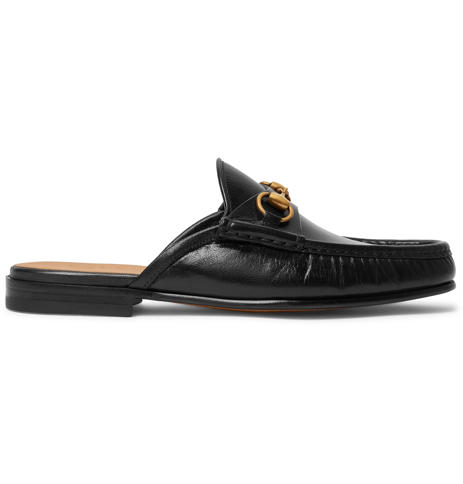 29822322d92 Gucci - Open Roos Horsebit Leather Backless Loafers