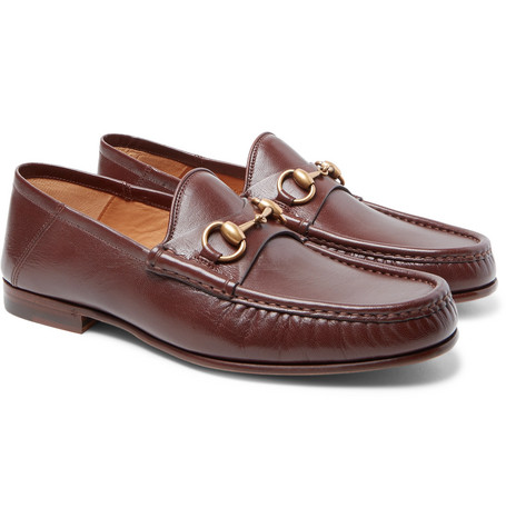 Gucci Easy Roos Horsebit Collapsible-Heel Leather Loafers In Burgundy