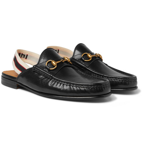Webbing-trimmed Leather Backless Loafers