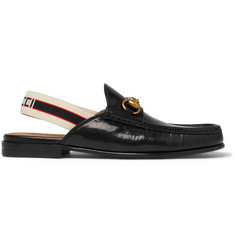 dd3d538ccce Gucci Webbing-Trimmed Leather Backless Loafers