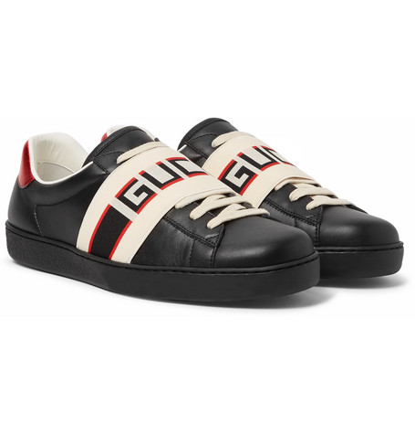 Logo-print Leather Sneakers - Black