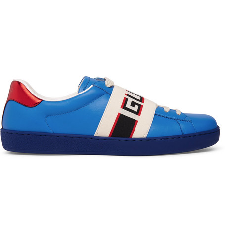 Gucci New Ace Stripe Leather Trainers In Blue