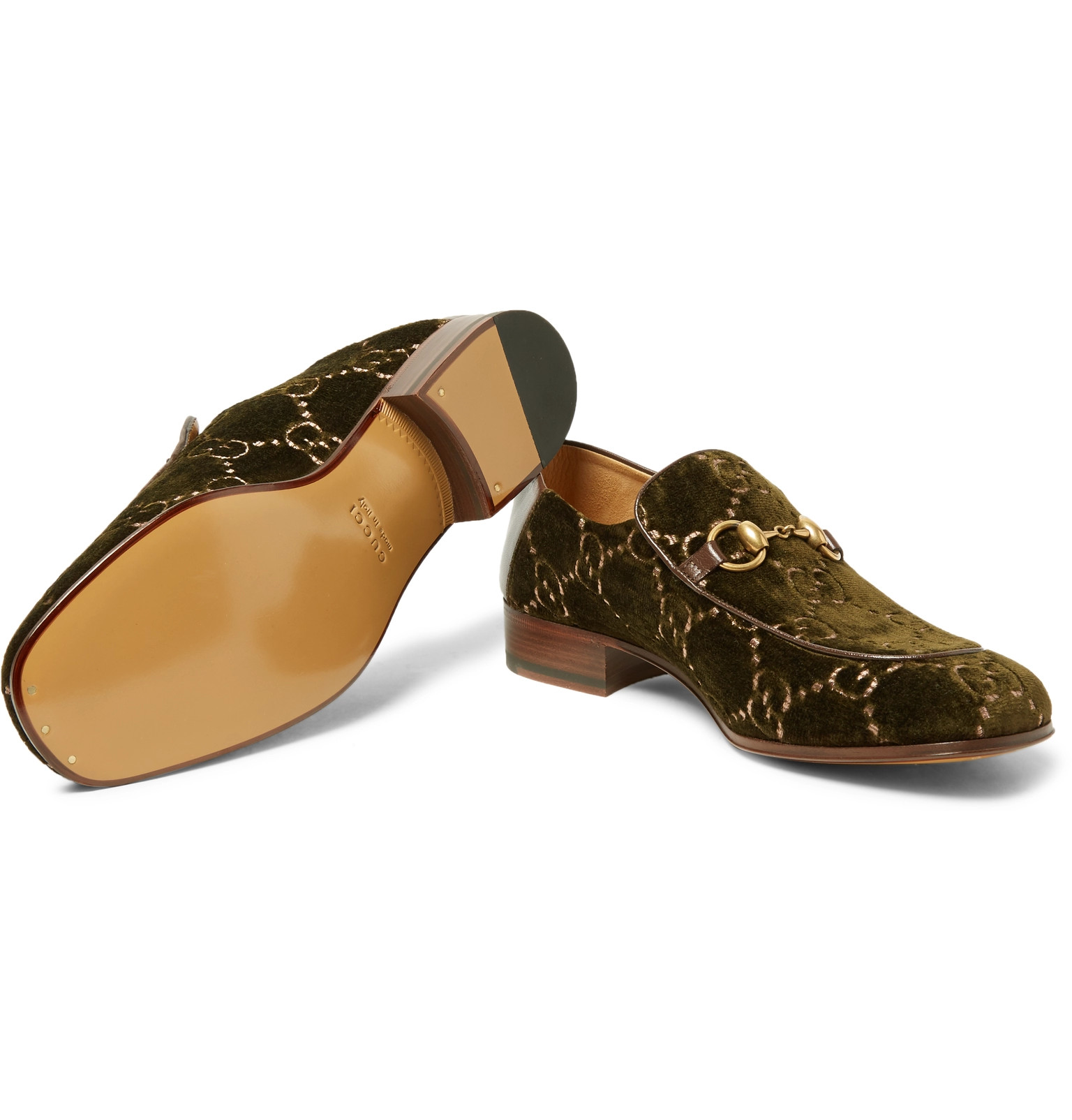 e566dd25b GucciHorsebit Collapsible-Heel Leather-Trimmed Embroidered Velvet Loafers