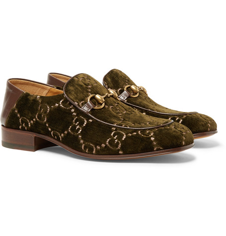 Horsebit Collapsible Heel Leather Trimmed Embroidered Velvet Loafers by Gucci