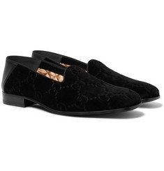 Gucci - Collapsible-Heel Leather-Trimmed Logo-Embroidered Velvet Loafers