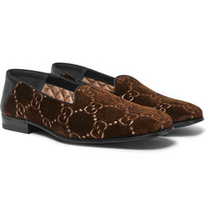 Gucci - Gallipoli Collapsible-Heel Leather-Trimmed Embroidered Velvet Loafers