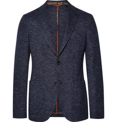 Etro Storm-Blue Slim-Fit Cotton and Wool-Blend Blazer