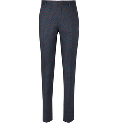 Etro Navy Slim-Fit Paisley-Print Wool Suit Trousers