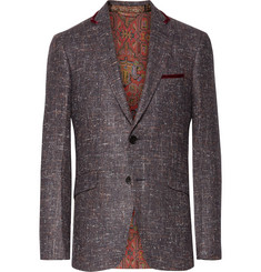 Etro Grape Slim-Fit Velvet-Trimmed Silk, Wool and Cashmere-Blend Blazer