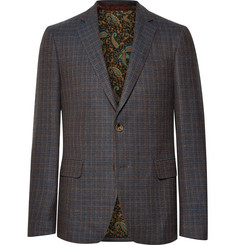Etro Navy Slim-Fit Checked Wool, Cotton and Cashmere-Blend Blazer