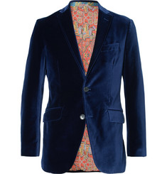 Etro Royal-Blue Slim-Fit Unstructured Stretch-Cotton Velvet Blazer