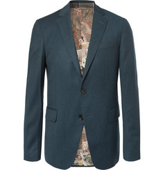 Etro Petrol Slim-Fit Mélange Stretch Wool-Blend Suit Jacket